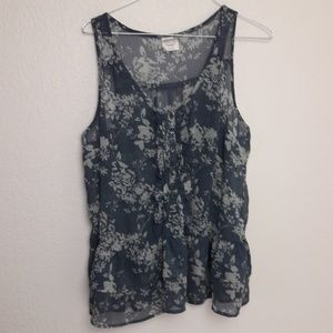 Inked & Faded Blue Silver Sheer Floral Tank Top L